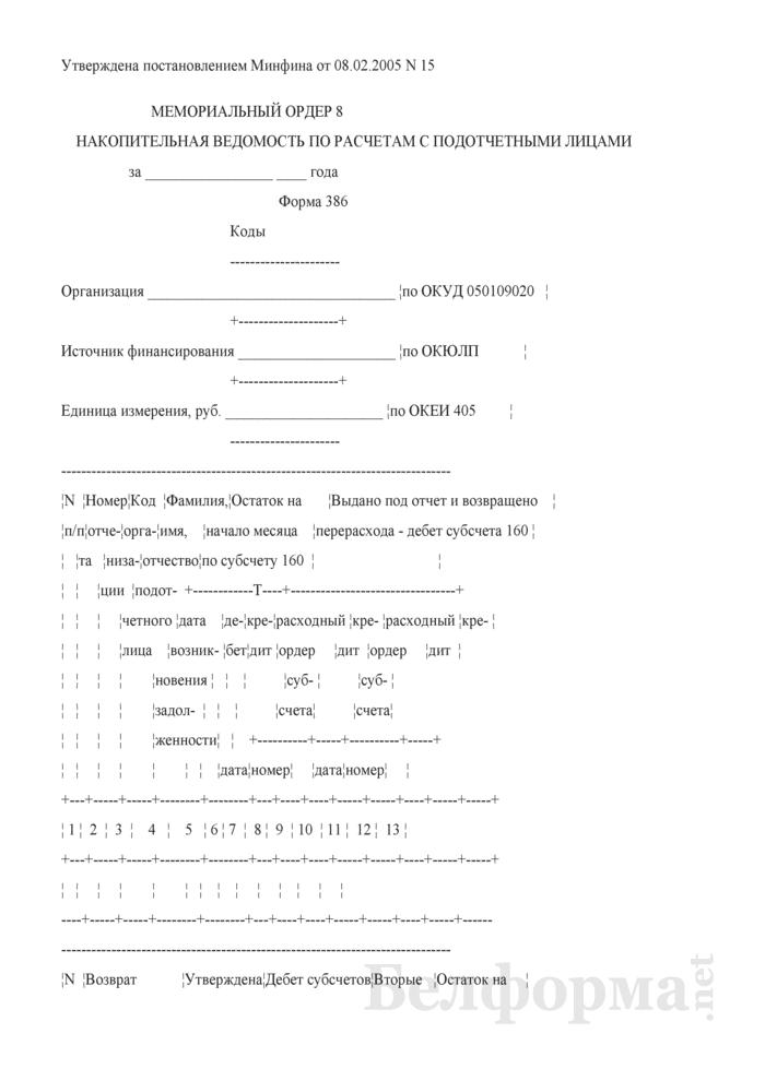Мемориальный ордер 8. Накопительная ведомость по расчетам с подотчетными лицами. Форма № 386. Страница 1