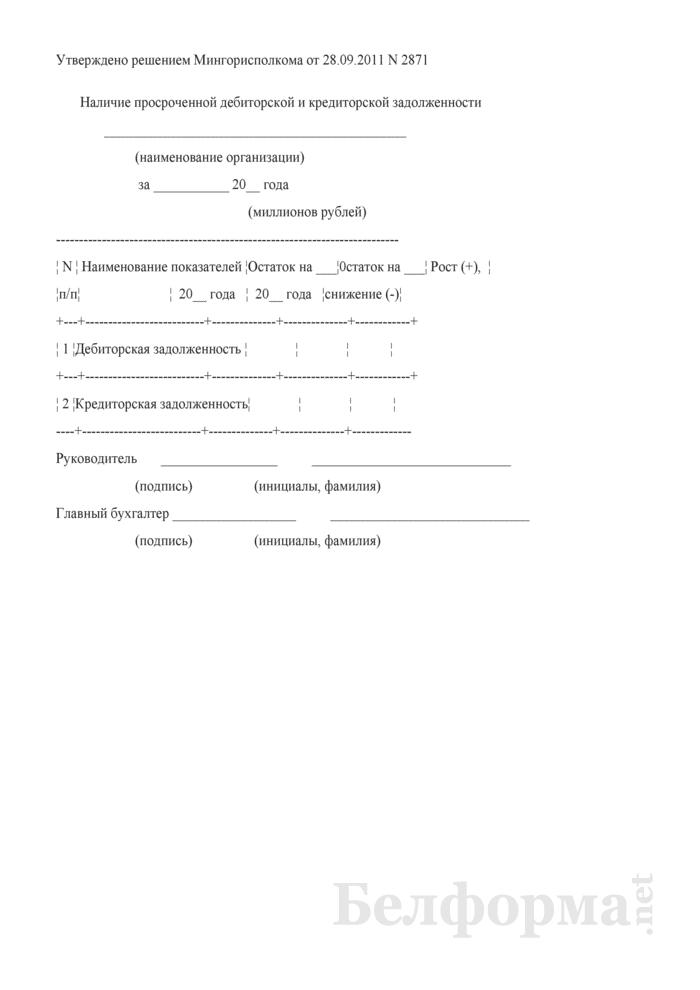 Наличие просроченной дебиторской и кредиторской задолженности (для г. Минска). Страница 1