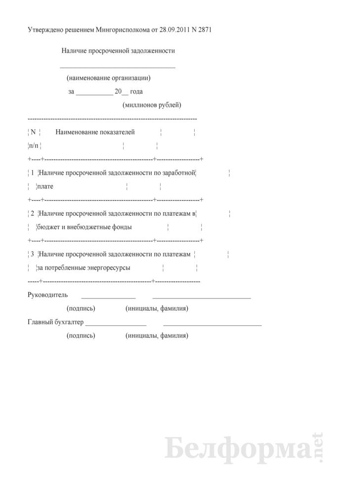 Наличие просроченной задолженности (для г. Минска). Страница 1
