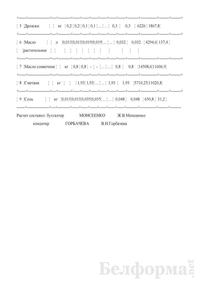 Наряд-заказ на изготовление кондитерских и других изделий (Образец заполнения). Страница 3