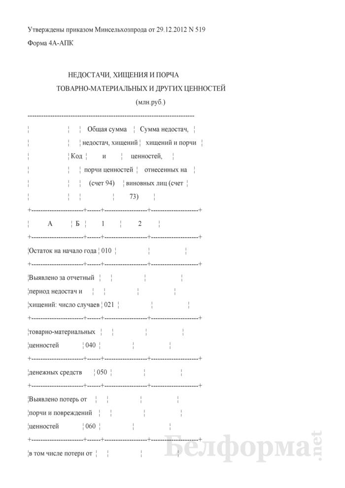 Недостачи, хищения и порча товарно-материальных и других ценностей (форма 4А-АПК). Страница 1