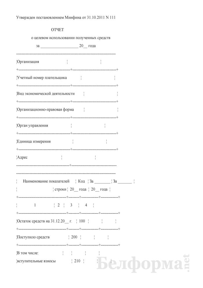 Отчет о целевом использовании полученных средств. Страница 1