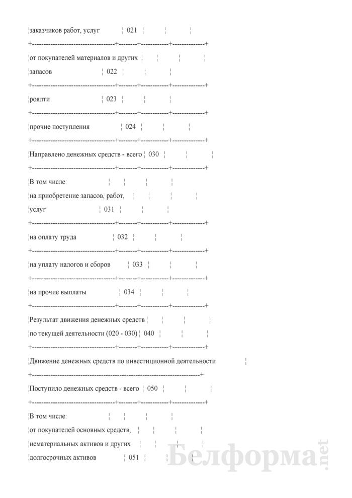 Отчет о движении денежных средств. Страница 2