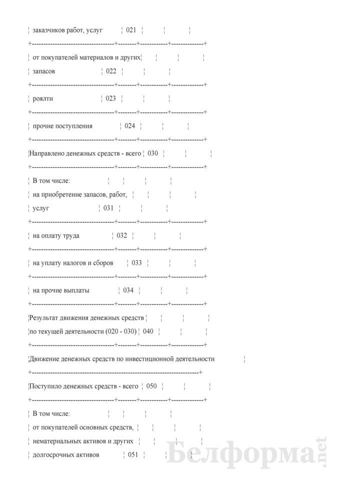 Отчет о движении денежных средств (Форма 4) (для организаций системы Минсельхозпрода). Страница 2