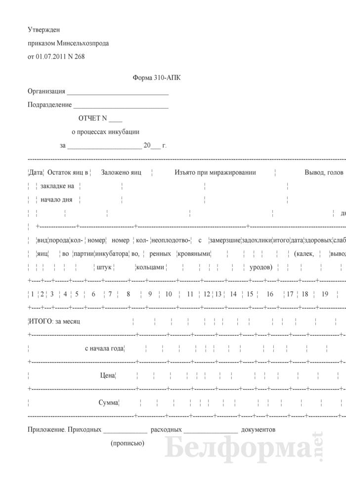 Отчет о процессах инкубации (Форма 310-АПК). Страница 1