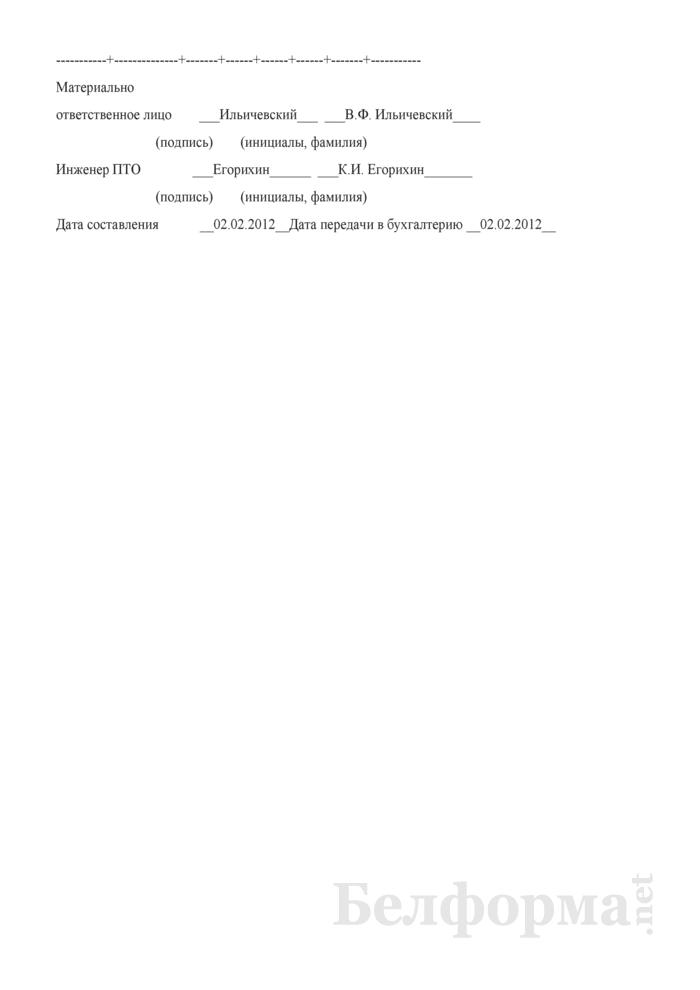 Отчет о расходе строительных материалов в сопоставлении с производственными нормами. Форма С-29 (Образец заполнения). Страница 3