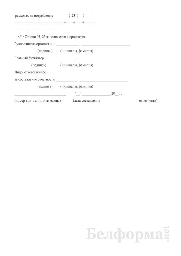 Отчет о распределении и использовании чистой прибыли и расходов на потребление. Страница 5