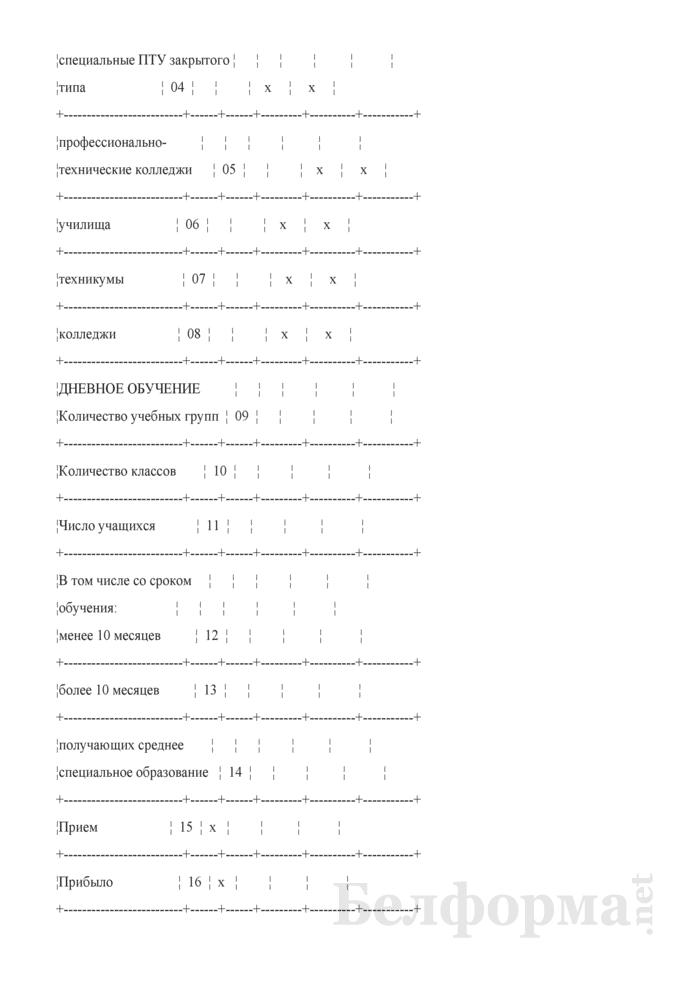 Отчет о выполнении плана по сети, штатам и контингентам по учреждениям образования по подготовке кадров (Форма 3-6). Страница 2