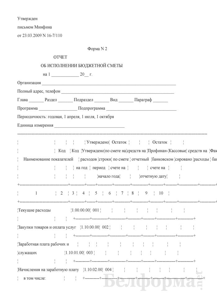 Отчет об исполнении бюджетной сметы. Страница 1
