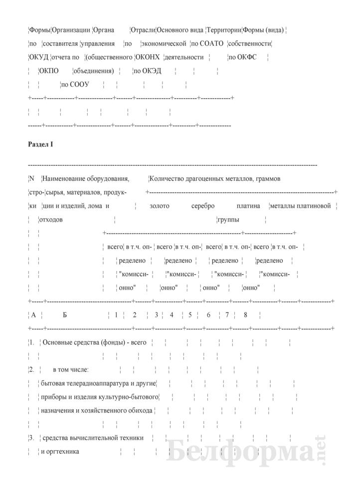 Отчет об итогах инвентаризации драгоценных металлов драгоценных камней, содержащихся во всех видах и состояниях на 1 января 1998 года. Форма № ИДМ. Страница 2