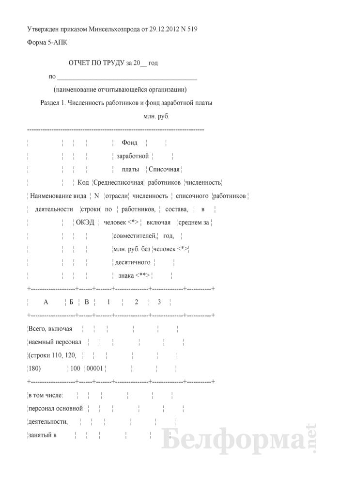 Отчет по труду (Форма 5-АПК). Страница 1