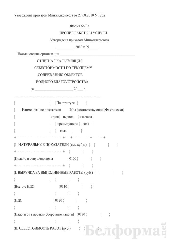 Отчетная калькуляция себестоимости по текущему содержанию объектов водного благоустройства (Форма 6а-Бл прочие работы и услуги). Страница 1