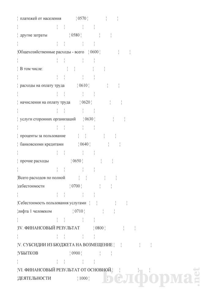 Отчетная калькуляция себестоимости пользования лифтом (население) (Форма 6-лх (нас.)). Страница 4