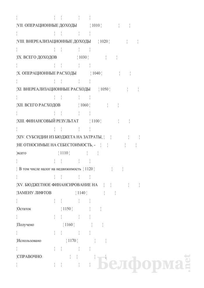 Отчетная калькуляция себестоимости пользования лифтом (население) (Форма 6-лх (нас.)). Страница 5