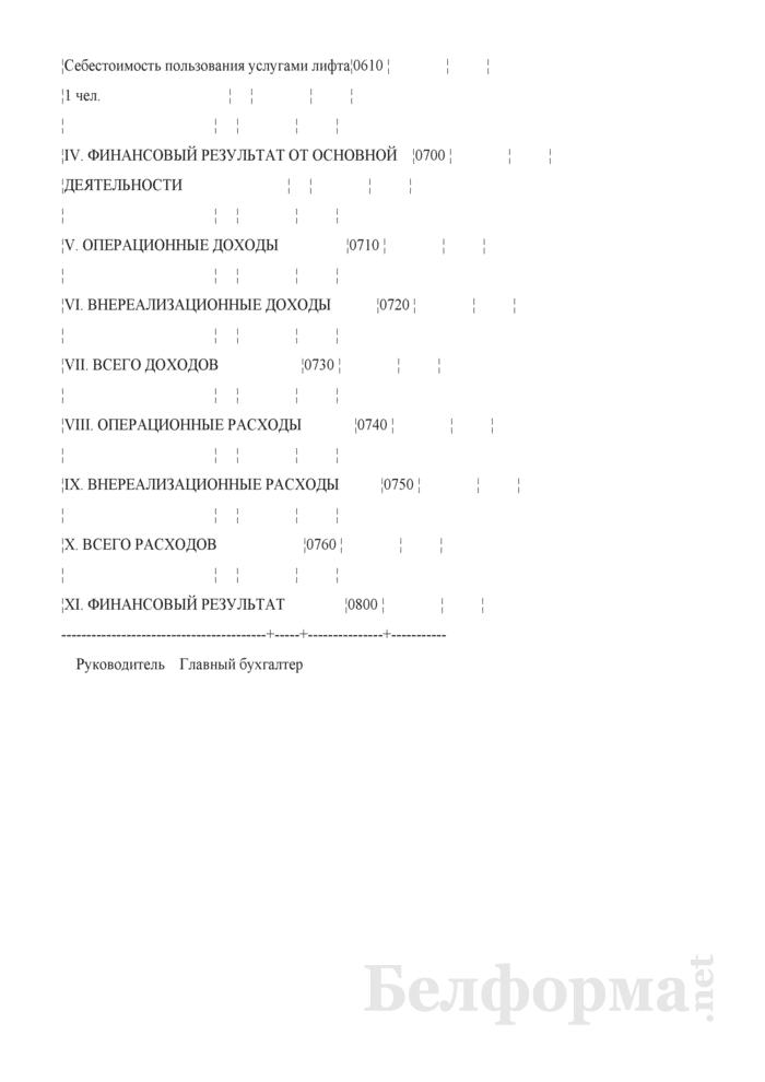 Отчетная калькуляция себестоимости работ по техническому обслуживанию лифтов (Форма 6-Лх-пр лифтовое хозяйство). Страница 4