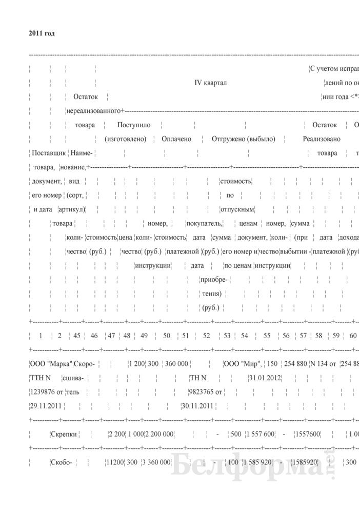 Пример заполнения книги учета товаров (готовой продукции) на стыке лет. Страница 1