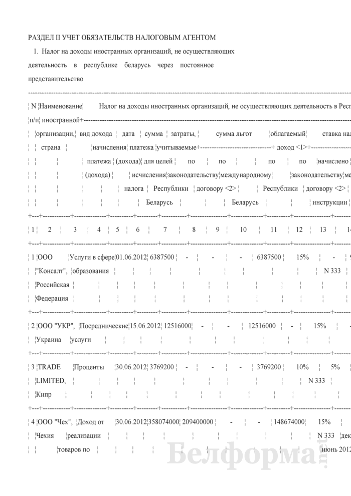 Пример заполнения раздела II книги учета доходов и расходов организаций и индивидуальных предпринимателей, применяющих упрощенную систему налогообложения. Страница 1