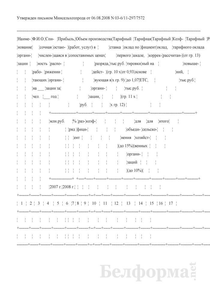 Примерный расчет определения тарифных окладов руководителей (сводный). Страница 1