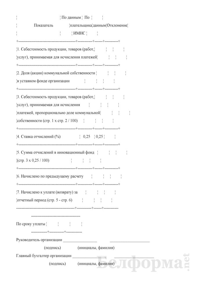 Расчет отчислений в инновационный фонд Минского городского исполнительного комитета в 2009 году. Страница 2