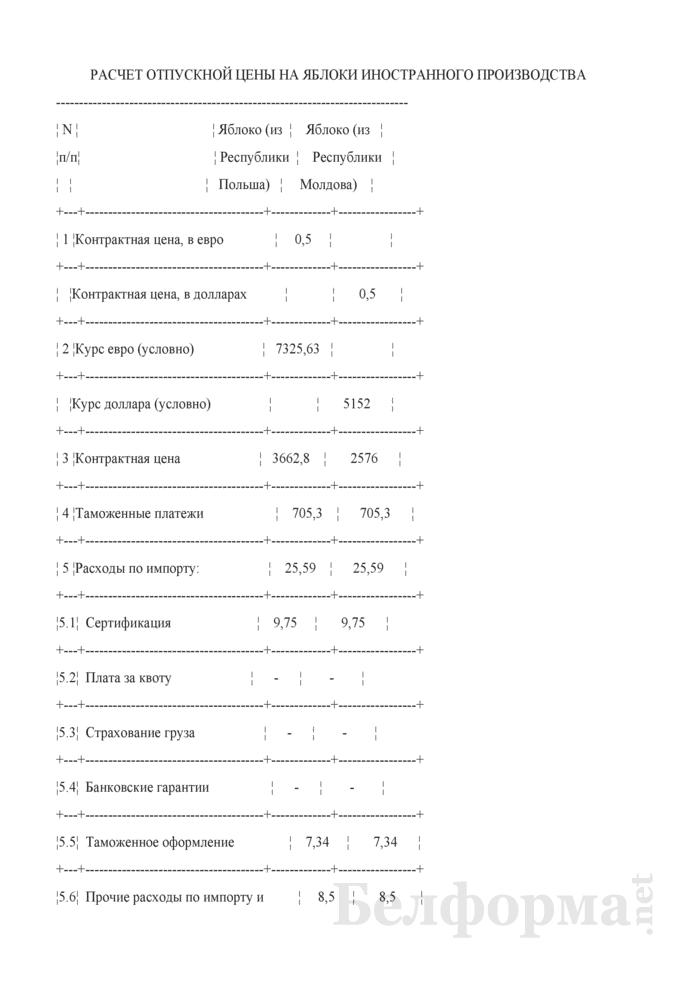 Расчет отпускной цены на яблоки иностранного производства (Образец заполнения). Страница 1
