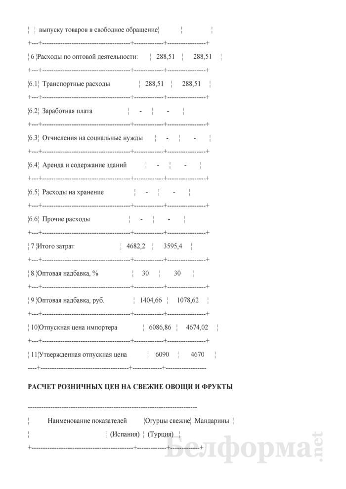 Расчет отпускной цены на яблоки иностранного производства (Образец заполнения). Страница 2