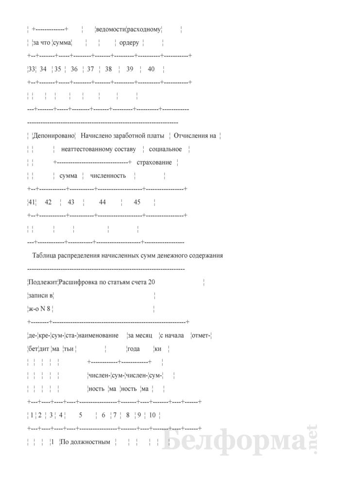 """Разработочная таблица № 1 """"Сводка расчетов по денежному содержанию штатного персонала, содержащегося за счет статьи 1 сметы бюджета и прочих статей сметы"""". Страница 4"""