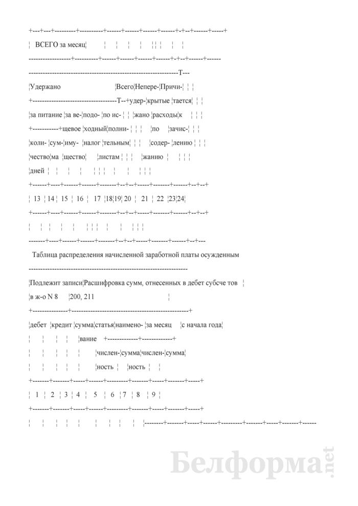 """Разработочная таблица № 2-ИУ """"Сводка расчетов по заработной плате осужденных"""". Страница 2"""