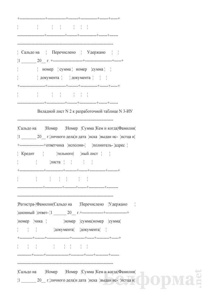 """Разработочная таблица № 3-ИУ """"Оборотная ведомость по учету исполнительных документов и производимых удержаний по ним"""". Страница 2"""