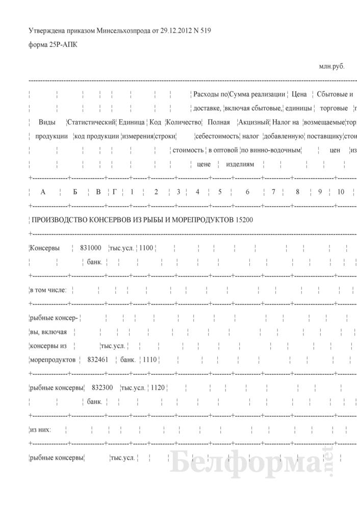 Реализация промышленной продукции (форма 25P-АПК). Страница 1