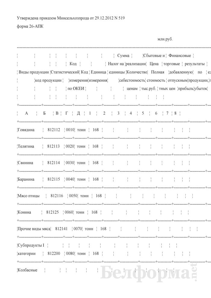 Реализация промышленной продукции (форма 26-АПК). Страница 1