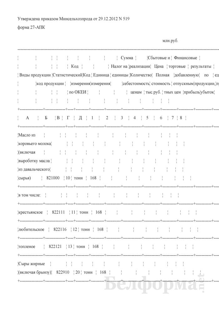 Реализация промышленной продукции (форма 27-АПК). Страница 1