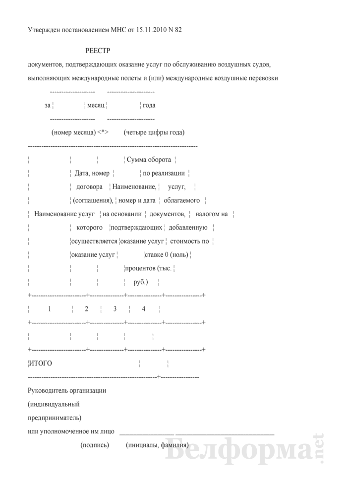 Реестр документов, подтверждающих оказание услуг по обслуживанию воздушных судов, выполняющих международные полеты и (или) международные воздушные перевозки (приложение к форме налоговой декларации (расчета) по налогу на добавленную стоимость). Страница 1