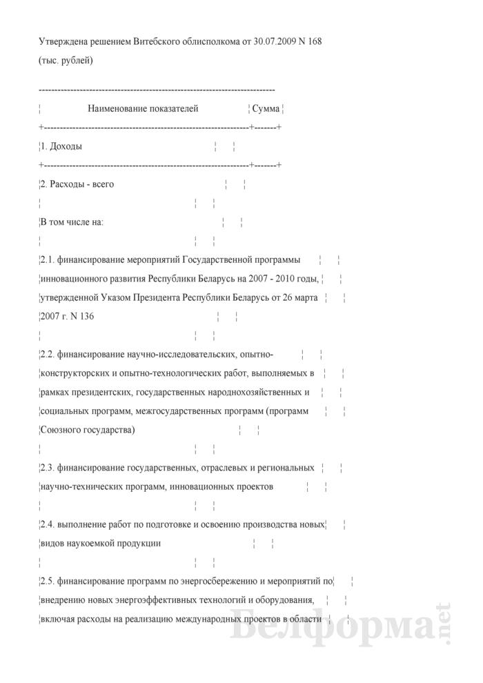 Смета доходов и расходов средств инновационного фонда Витебского областного комитета по направлениям использования на 2009 год. Страница 1