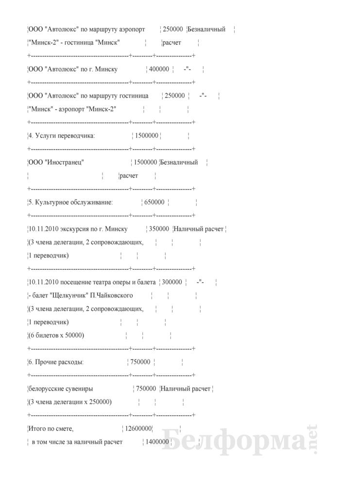 Смета расходов на прием и обслуживание делегации из ФРГ. Страница 3