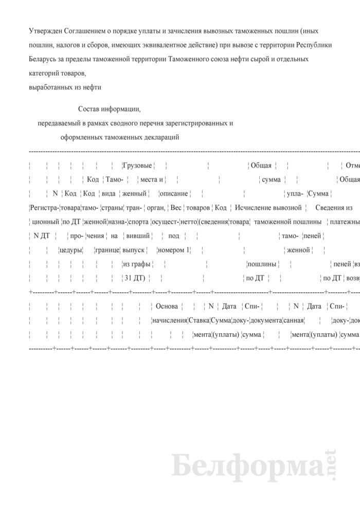 Состав информации, передаваемый в рамках сводного перечня зарегистрированных и оформленных таможенных деклараций. Страница 1