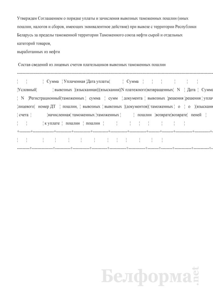 Состав сведений из лицевых счетов плательщиков вывозных таможенных пошлин. Страница 1