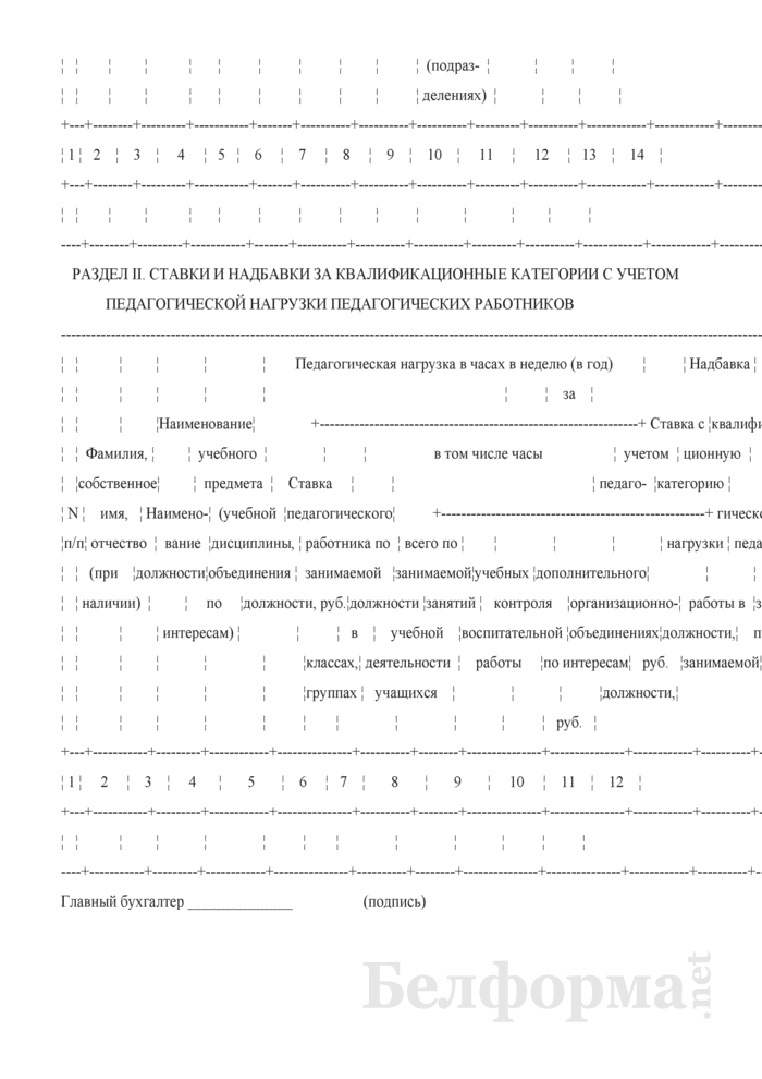 Список педагогических работников, которым исчисляются ставки и надбавки за квалификационные категории с учетом педагогической нагрузки. Страница 2
