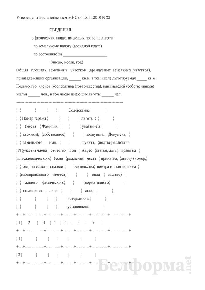 Сведения о физических лицах, имеющих право на льготы по земельному налогу (арендной плате). Страница 1