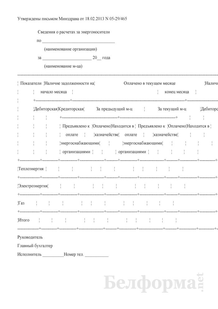Сведения о расчетах за энергоносители (Форма). Страница 1