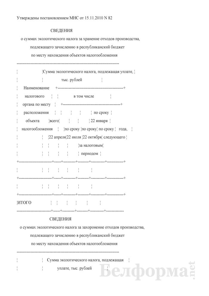 Сведения о суммах экологического налога за хранение отходов производства, подлежащего зачислению в республиканский бюджет по месту нахождения объектов налогообложения. Страница 1