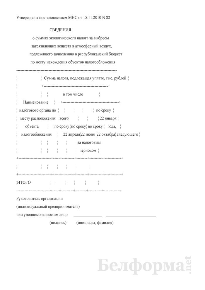 Сведения о суммах экологического налога за выбросы загрязняющих веществ в атмосферный воздух, подлежащего зачислению в республиканский бюджет по месту нахождения объектов налогообложения. Страница 1