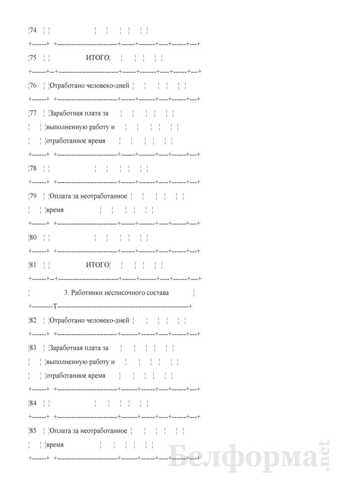 Сводная ведомость начисленной оплаты труда по ее составу и категориям работников. Форма № 58-АПК. Страница 12