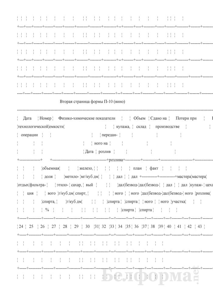 Технологический журнал производства коньяков (Форма П-10 (вино)). Страница 2