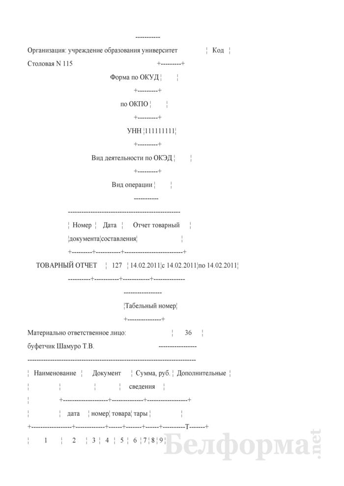 Товарный отчет (Образец заполнения). Страница 1