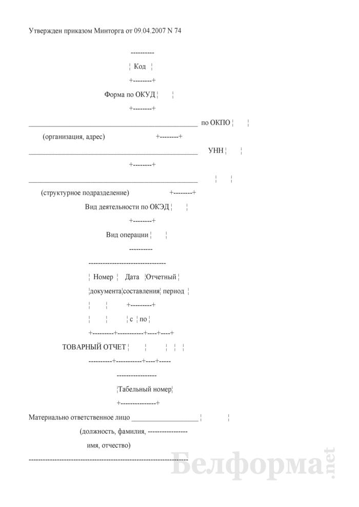 Товарный отчет материально ответственного лица о движении товаров. Страница 1