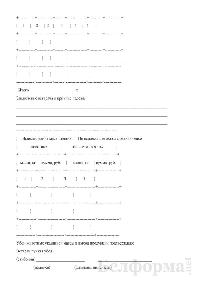 Учетный лист убоя и падежа животных. Форма № 703-АПК. Страница 3