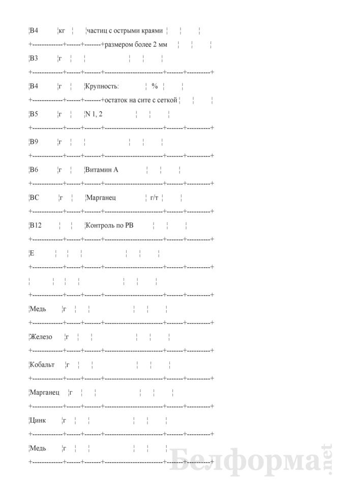Удостоверение о качестве премиксов (Форма № ЗПП-43б). Страница 2