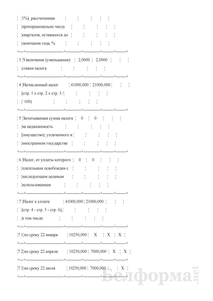 Уточненная налоговая декларация (расчет) по налогу на недвижимость организаций, у которых произошли изменения в течение года (Пример заполнения). Страница 3