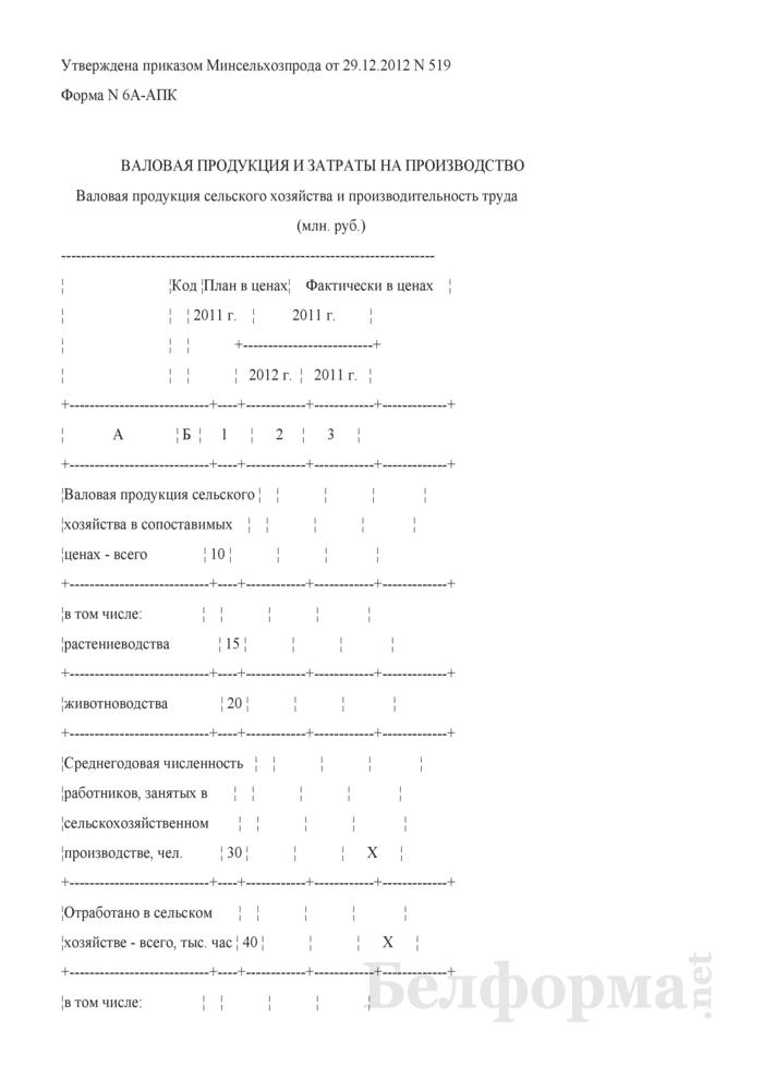 Валовая продукция и затраты на производство (Форма 6А-АПК). Страница 1