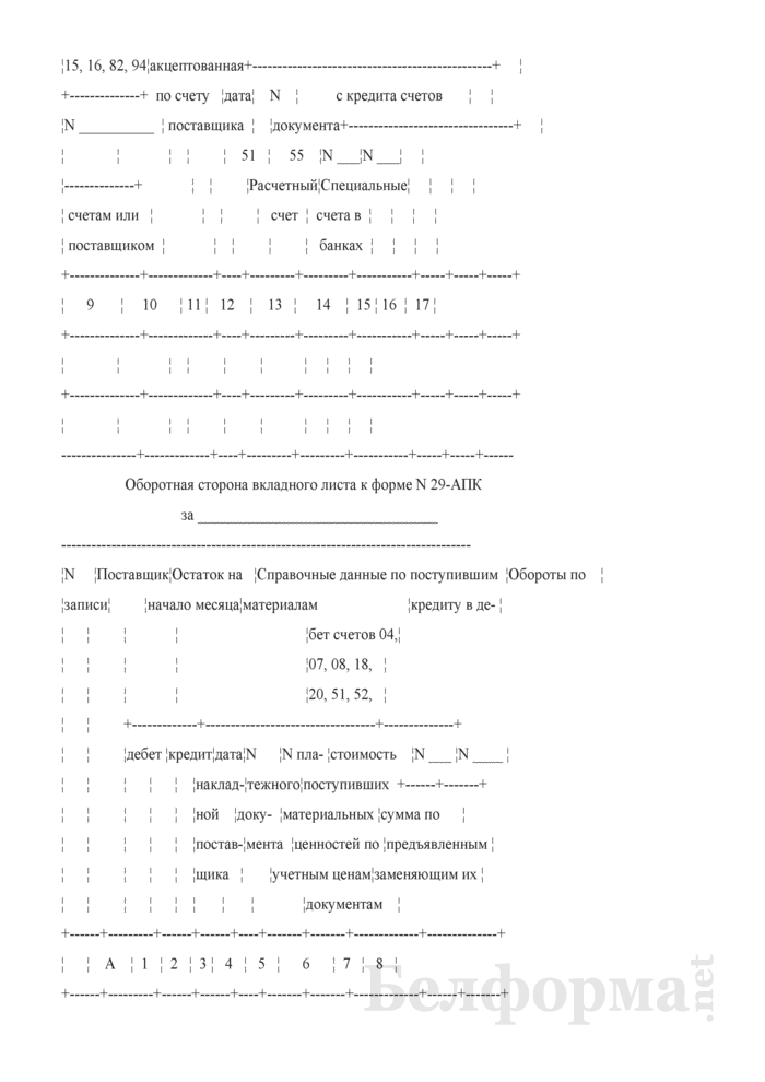 Ведомость аналитического учета расчетов с поставщиками в порядке плановых и авансовых платежей. Форма № 29-АПК. Страница 3